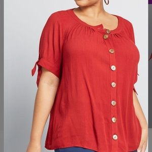 NEW Modcloth Red Short Sleeve Button Front Top